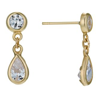 9ct Yellow Gold Cubic Zirconia Teardrop Earrings - Product number 1003240