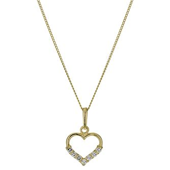 9ct Yellow Gold Cubic Zirconia Small Heart Pendant - Product number 1003534