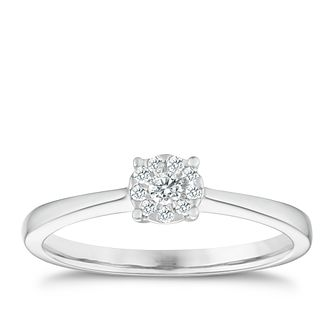 9ct white gold 1/10ct diamond solitaire cluster ring - Product number 1003909