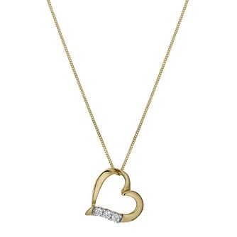 "9ct Yellow Gold 16"" Cubic Zirconia Heart Pendant - Product number 1009664"