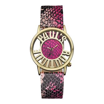 Paul's Boutique Ladies' Pink Snake Print Strap Watch - Product number 1014625