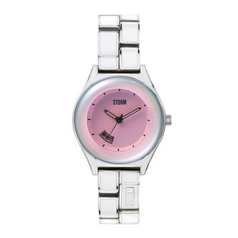 Storm Ladies' Stainless Steel & White Enamel Bracelet Watch - Product number 1014900