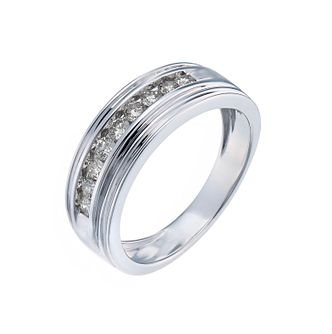 9ct white gold 0.50ct diamond band ring - Product number 1018310