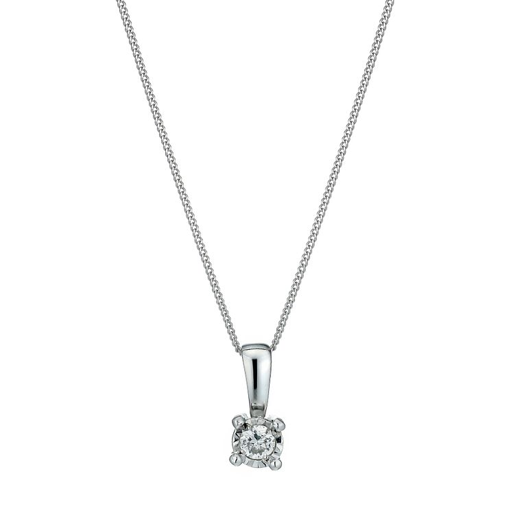 9ct White Gold Illusion Diamond Pendant Necklace - Product number 1020935