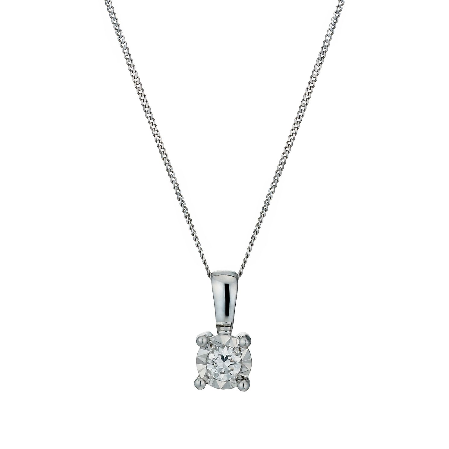 diamond solitaire gold necklace in white