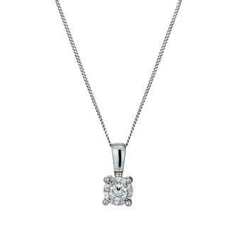 9ct White Gold Illusion Diamond Pendant Necklace - Product number 1020943