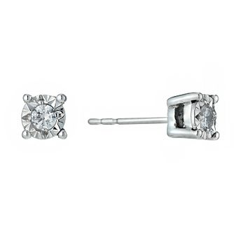 9ct White Gold Illusion 1/10 Carat Diamond Earrings - Product number 1020994