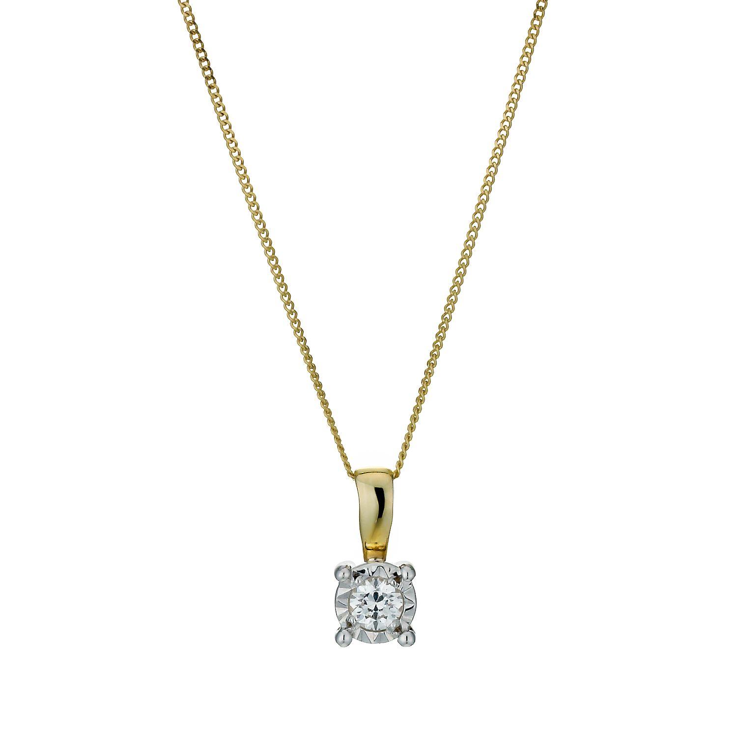 Solitaire diamond necklaces hmuel 9ct gold illusion diamond pendant necklace product number 1021028 aloadofball Images