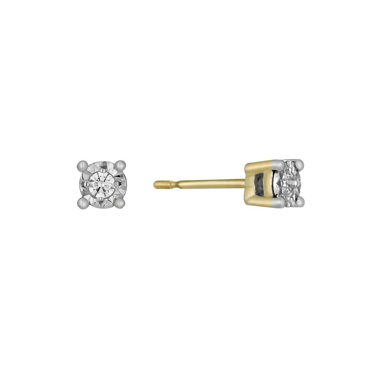 9ct Gold Illusion Diamond Earrings - Product number 1021044
