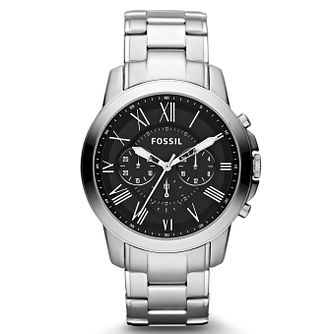 Fossil Grant Men's Black Dial Stainless Steel Bracelet Watch - Product number 1021621