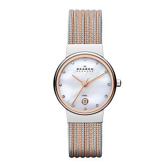 Skagen Ladies' Two Colour Stainless Steel Strap Watch - Product number 1021850