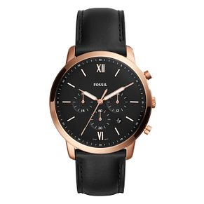 Fossil Men's Black Leather Strap Watch - Product number 1023039