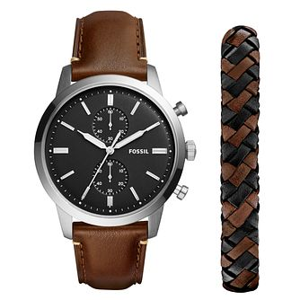 Fossil Townsman Men's Brown Leather Strap Watch Gift Set - Product number 1023063