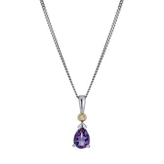 "Silver & 9ct Gold 18"" Amethyst & Cubic Zirconia Drop Pendant - Product number 1023780"