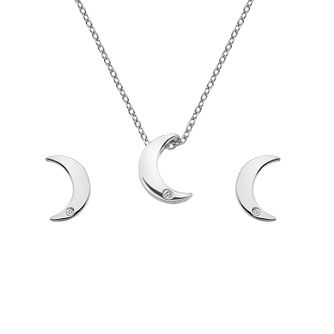 Hot Diamonds Silver Rhodium Moon Earrings & Pendant Set - Product number 1023861