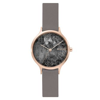 Skagen Anita Ladies' Grey Leather Strap Watch - Product number 1025252