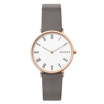 Skagen Slim Hald Ladies' Grey Leather Strap Watch - Product number 1025295