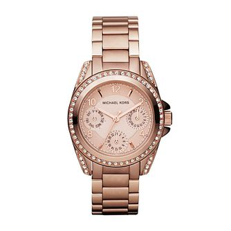 Michael Kors Ladies' Rose Gold Tone Stone Set Watch - Product number 1026127