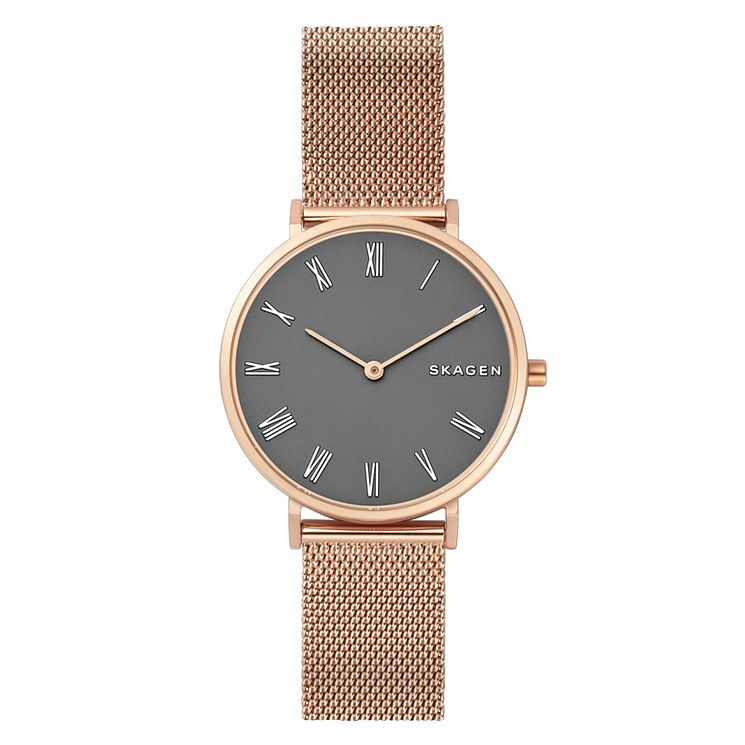 Skagen Slim Hald Ladies' Rose Gold Mesh Bracelet Watch - Product number 1026380