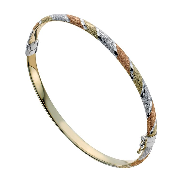 Together Silver & 9ct Bonded Gold Three Colour Bangle - Product number 1029274