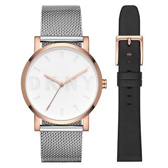 DKNY Soho Ladies' Two Tone Steel Bracelet Watch Set - Product number 1030329