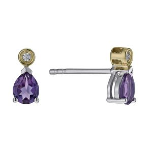 Sterling Silver & 9ct Yellow Gold Amethyst Drop Earrings - Product number 1031546