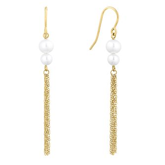 9ct Yellow Gold Cultured Freshwater Pearl Tassel Earrings - Product number 1032569
