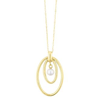 9ct Gold Cultured Freshwater Pearl Double Oval Pendant - Product number 1032593