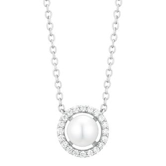 Silver Cultured Freshwater Pearl & Halo Necklace - Product number 1033697