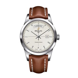 Breitling Transocean men's brown leather strap watch - Product number 1033913