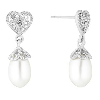 Silver Rhodium Cultured Freshwater Pearl Heart Drop Earrings - Product number 1036947