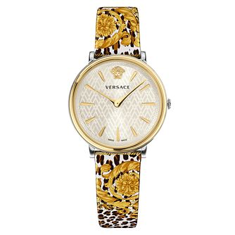 Versace Ladies' V-circle Yellow Gold Plated Strap Watch - Product number 1040456