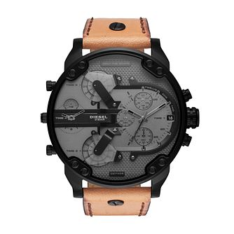 Diesel Mr Daddy Men's Brown Leather Strap Watch - Product number 1040561