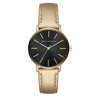 Armani Exchange Lola Ladies' Gold Leather Strap Watch - Product number 1041401