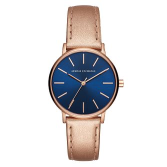 Armani Exchange Lola Ladies' Rose Gold Leather Strap Watch - Product number 1041762