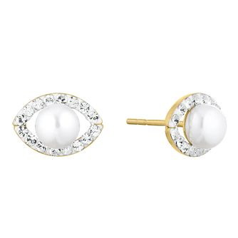 9ct Yellow Gold Cultured Freshwater Pearl Marquise Earrings - Product number 1042874