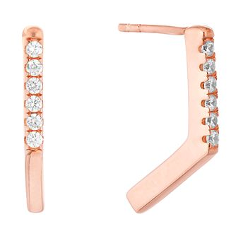 Silver Rose Gold Plated Cubic Zirconia Chevron Stud Earrings - Product number 1058231