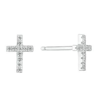 Silver Cubic Zirconia Cross Studs - Product number 1058266