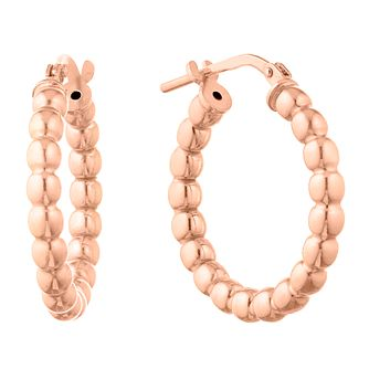 Silver Rose Gold Plated Ball Hoop Earrings - Product number 1058495