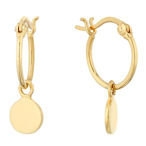 Silver Yellow Gold Charm Hoop Earrings - Product number 1058649