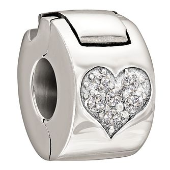 Chamilia Jewelled Heart sterling silver crystal lock bead - Product number 1058827