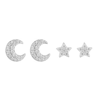 Silver Cubic Zirconia Moon & Star Stud Earring Set - Product number 1058908
