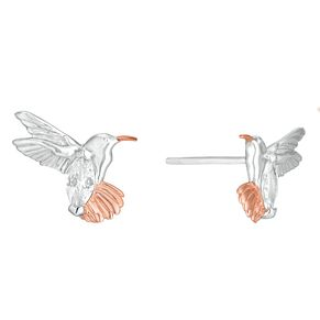 Silver Two-Tone Cubic Zirconia Hummingbird Stud Earrings - Product number 1059017