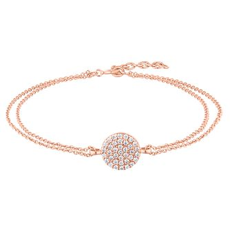 Silver Rose Gold Plated Pave Crystal Round Strand Bracelet - Product number 1059319