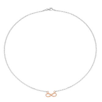 Silver Rose Gold Plated Infinity Symbol Necklace - Product number 1059521