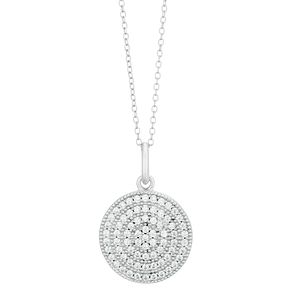 Silver Pave Cubic Zirconia Round Necklace - Product number 1059769