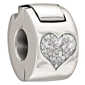 Chamilia Sterling Silver Crystal Heart Lock Charm - Product number 1060252