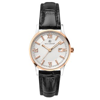 Accurist Signature Ladies' Black Leather Strap Watch - Product number 1065033