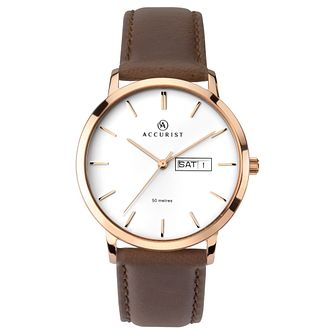 Accurist Classic Men's Brown Leather Strap Watch - Product number 1065157