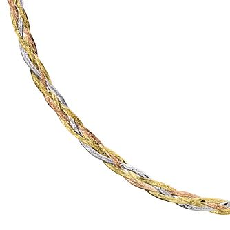 "9ct Three Colour Gold 18"" Plaited Herringbone Necklace - Product number 1065599"